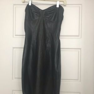 Vintage Leather Strapless Dress Size 6